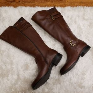 Naturalizer  Jessie Leather Wide Calf Riding Boots